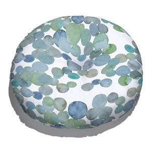 Almofada de Chão Redonda No meio da Mata Azul e Verde
