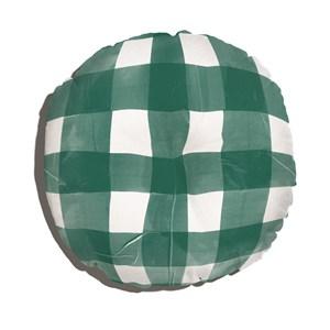 Almofada de Chão Redonda Piquenique Verde e Branco
