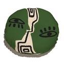 Almofada de Chão Redonda Rostinhos Verde e Preto