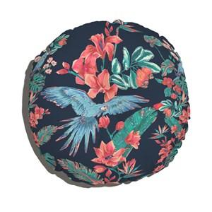 Almofada de Chão Redondo Flor de Arara Azul e Azul Marinho