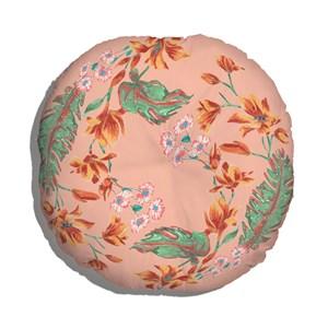 Almofada de Chão Redondo Flor de Arara I Rosa e Verde