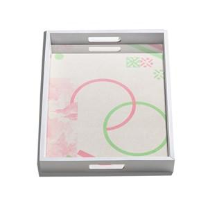 Bandeja Serigrafia Verde e Rosa