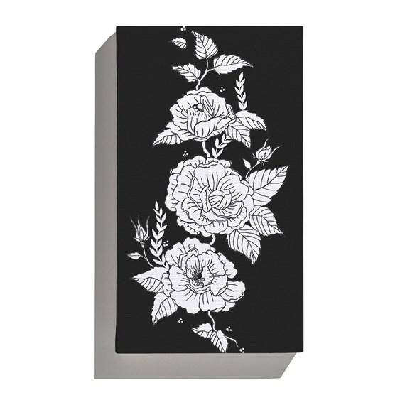 Canvas Flores Pretas Branco e Preto