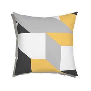 Capa de Almofada Geométrico Grande Cinza e Amarelo