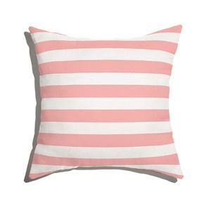 Capa de Almofada Listras Casitas Rosa e Branco