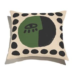 Capa de Almofada Rostinhos III Verde e Preto