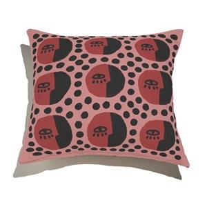 Capa de Almofada Rostinhos Pattern Rosa e Vermelho