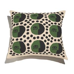 Capa de Almofada Rostinhos Pattern Verde e Preto