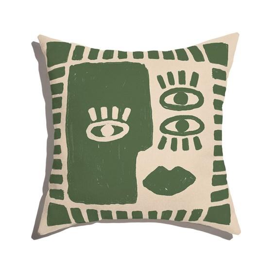Capa de Almofada Rostinhos Verde