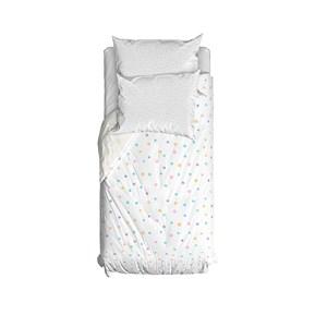 Capa de Edredom Bolinhas da Onça Branco e Azul