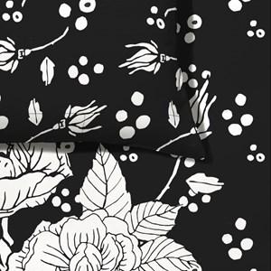 Capa de Edredom Flores Pretas Branco e Preto