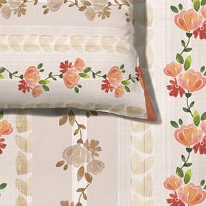 Capa de Edredom Flores Vintage I Bege e Rosa