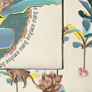 Capa de Edredom Folhagens Sonhos III Cinza e Amarelo