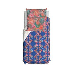 Capa de Edredom Tropicana Floral Azul e Rosa