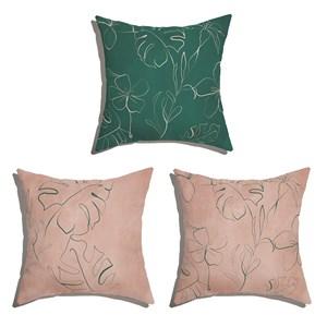 Conjunto de Almofadas Floral Artline Azul e Rosa
