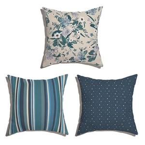 Conjunto de Almofadas Floral Cool Azul Marinho e Azul