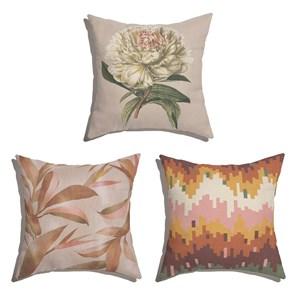 Conjunto de Almofadas Floral Fotográfico Bege e Rosa