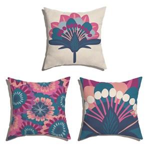 Conjunto de Almofadas Floresta Colorida Azul Marinho e Rosa