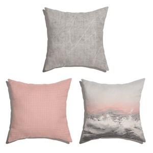 Conjunto de Almofadas Mar Realista Rosa e Cinza
