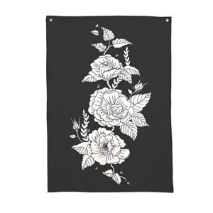 Flâmula Flores Pretas Branco e Preto