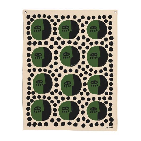 Flâmula Rostinhos Pattern Verde e Preto