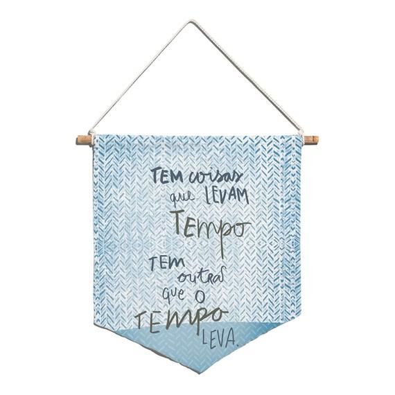 Flâmula Rustic Frases Azul
