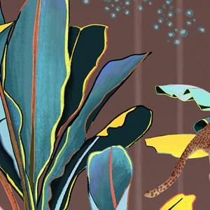Painel de Parede Folhagens Sonhos Marrom e Amarelo