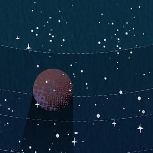 Painel de Parede Sistema Solar Azul Marinho e Marrom
