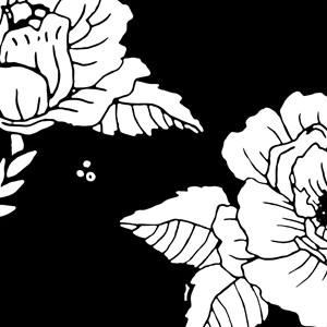 Painel Flores Pretas Branco e Preto