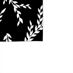 Pano de Prato Folhinhas Pretas Branco e Preto