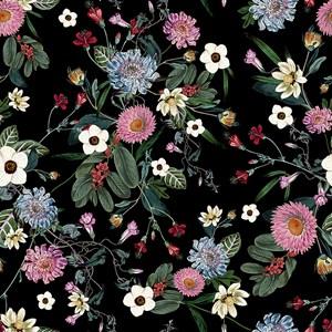 Papel de Parede Floral Cool Preto