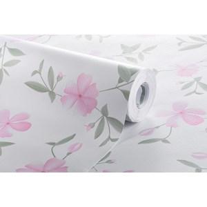 Papel de Parede Floral Delicado Rosa e Branco