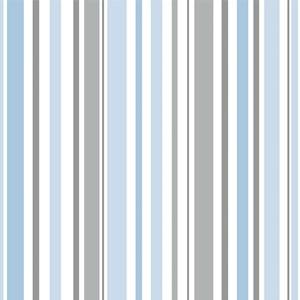 Papel de Parede Listras Azul  e Cinza