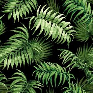 Papel de Parede Paisagem Tropical Preto e Verde