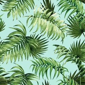 Papel de Parede Paisagem Tropical Verde e Azul