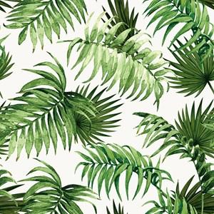 Papel de Parede Paisagem Tropical Verde e Branco