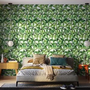 Papel de Parede Paisagem tropical Verde e Branco I