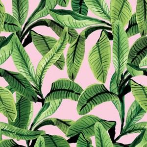 Papel de Parede Paisagem tropical Verde e Rosa