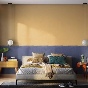 Papel de Parede Parede Marrocos Amarelo e Azul Marinho