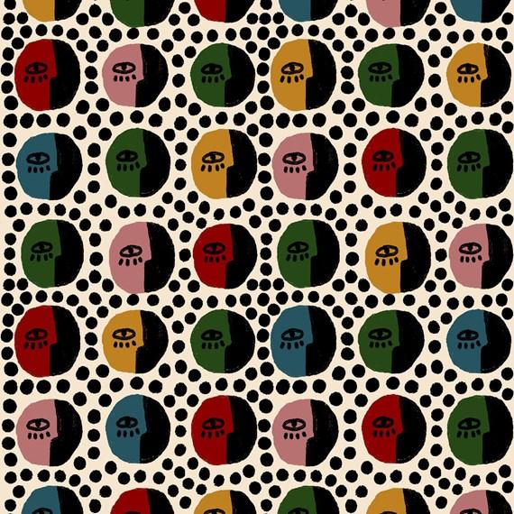 Papel de Parede Rostinhos Pattern Amarelo e Verde