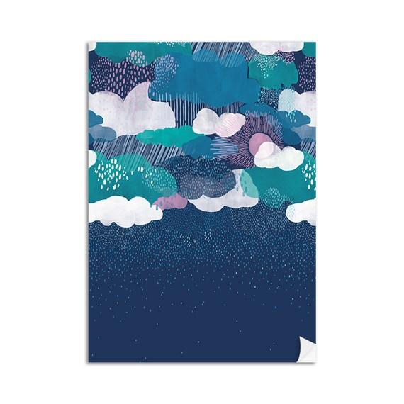 Poster Chuva Azul Marinho e Azul