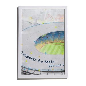 Quadro Estádio Frase Cinza e Azul
