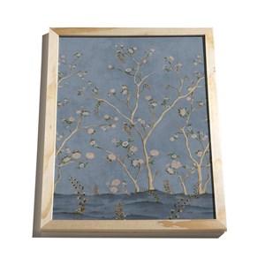 Quadro Floral Japonaisserie Azul Marinho e Rosa
