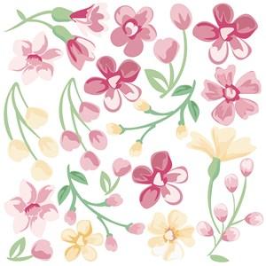 Sticker Clássico Moderno Floral Rosa e Amarelo