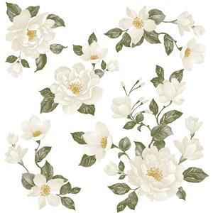 Sticker Floral Clássico Branco e Verde